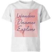 Wander Dreamer Explorer With Map Background Kids' T-Shirt - White - 9-10 Years - White