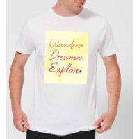 Wander Dreamer Explorer Background Men's T-Shirt - White - XL - White