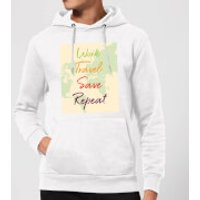 Work Travel Save Repeat Map Background Hoodie - White - XL - White