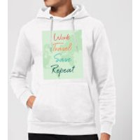 Work Travel Save Repeat Background Hoodie - White - S - White