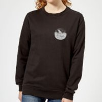 To Travel Is To Live Pocket Print Women's Sweatshirt - Black - S - Black