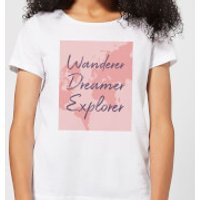 Image of Wander Dreamer Explorer With Map Background Women's T-Shirt - White - XS - White