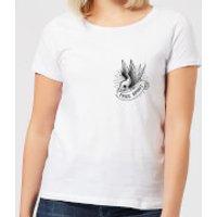 Swallow Free Spirit Pocket Print Women's T-Shirt - White - S - White