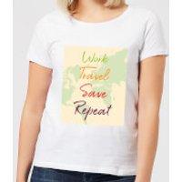 Work Travel Save Repeat Map Background Women's T-Shirt - White - XXL - White