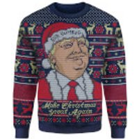 IWOOT Exclusive Donald Trump Knitted Christmas Jumper - Navy - L - Xmas Gifts