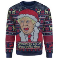 IWOOT Exclusive Boris Johnson Knitted Christmas Jumper - Navy - XL - Xmas Gifts