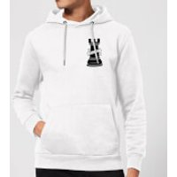 Rook Chess Piece Hold Fast Pocket Print Hoodie - White - S - White