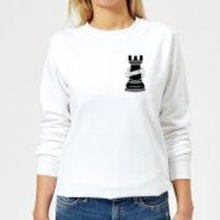 Rook Chess Piece Hold Fast Pocket Print Women's Sweatshirt - White - XXL - White