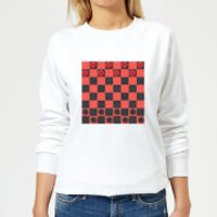 Red Checkers Board Women's Sweatshirt - White - 5XL - White