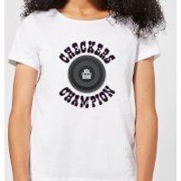 Checkers Champion Black Checker Women's T-Shirt - White - XXL - White