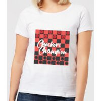 Checkers Board With Text Women's T-Shirt - White - 4XL - White