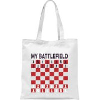My Battlefield Chess Board Red & White Tote Bag - White - Chess Gifts