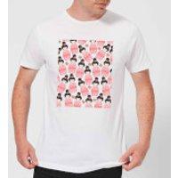 Pink Geisha Scattered Pattern Men's T-Shirt - White - M - White