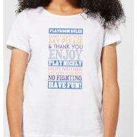 Playroom Rules Blue Banner Women's T-Shirt - White - S - White