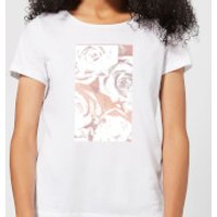 White Rose Print Women's T-Shirt - White - XL - White