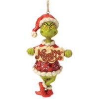 The Grinch By Jim Shore Grinch Naughty or Nice Sign (Hanging Ornament) - Ornament Gifts