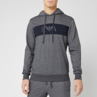 Emporio Armani Men's Ea Logo Hoody - Grey/Blue - XL