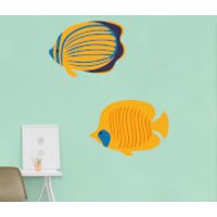 Striped Coral Fish And Butterfly Fish Wall Art Sticker Pack - Coral Gifts