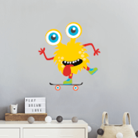 Yellow Monster On Skateboard Wall Art Sticker - Skateboard Gifts