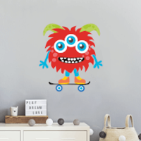 Red Monster On Skateboard Wall Art Sticker - Skateboard Gifts