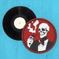 Gentleman Smoking Skull Record Player Slip Mat - Smoking Gifts