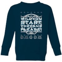 Crystal Maze Will You Start The Fans Please! Kids' Sweatshirt - Navy - 11-12 Years - Navy