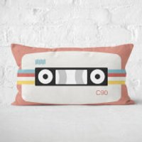 Coral Cassette Tape Rectangular Cushion - 30x50cm - Soft Touch - Coral Gifts