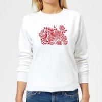 Folk Bird Graphic Women's Sweatshirt - White - S - White