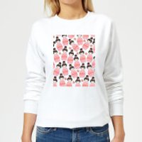 Pink Geisha Scattered Pattern Women's Sweatshirt - White - 5XL - White