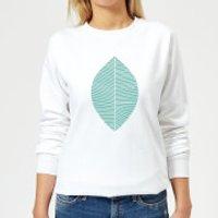 Plain Light Turquoise Leaf Women's Sweatshirt - White - XXL - White