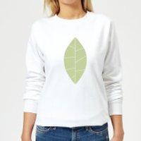 Plain Green Leaf Women's Sweatshirt - White - XXL - White