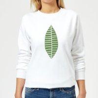 Plain Green Skinny Leaf Women's Sweatshirt - White - XXL - White