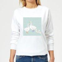 Goose Family Background Women's Sweatshirt - White - XL - White