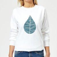 Plain Turquoise Leaf Women's Sweatshirt - White - XXL - White