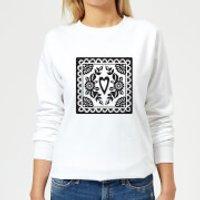 Image of Black Cut Heart Pattern Heart Women's Sweatshirt - White - S - White
