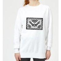 Black Cut Heart Pattern Flower Women's Sweatshirt - White - 4XL - White