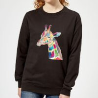 Multicolour Watercolour Giraffe Women's Sweatshirt - Black - L - Black - Giraffe Gifts