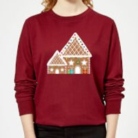 Gingerbread House Three Women's Sweatshirt - Burgundy - L - Burgundy