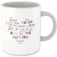 'Love Dovey Words Heart Shape Mug