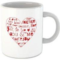 'Love Dovey Words Heart Outline Mug