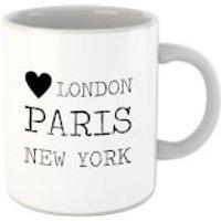 'Love Heart London Paris New York Mug
