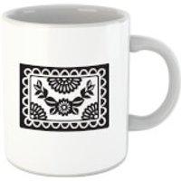 Black Cut Heart Pattern Flower Mug