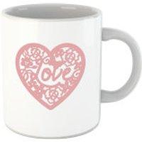 'Pink Cut Out Love Heart Mug