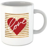 'Heart Love Scribble Striped Background Mug