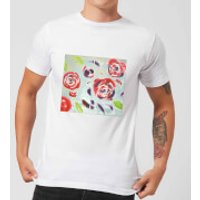 Candlelight Acrylic Painted Flowers Men's T-Shirt - White - 4XL - White