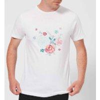 Candlelight Water Colour Flower Bouquet Men's T-Shirt - White - 3XL - White