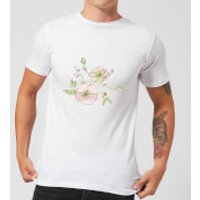 Candlelight Peony And Pansy Men's T-Shirt - White - L - White