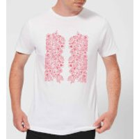 Candlelight Elegant Floral Pattern Men's T-Shirt - White - S - White