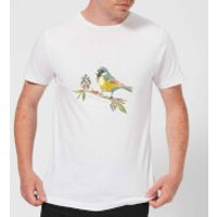 Candlelight Blue Tit On Pine Cone Branch Men's T-Shirt - White - 4XL - White