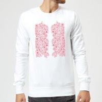 Candlelight Elegant Floral Pattern Sweatshirt - White - XXL - White